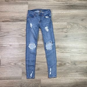 {AEO} Destructed Jegging Skinny Jean Sz 0